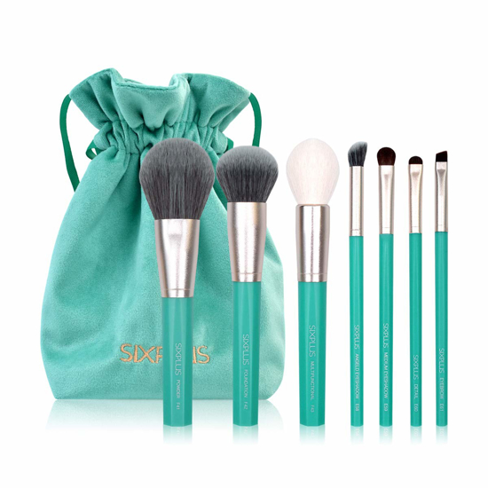 Picture of 7Pcs Octagon Candy Green Makeup Brushes